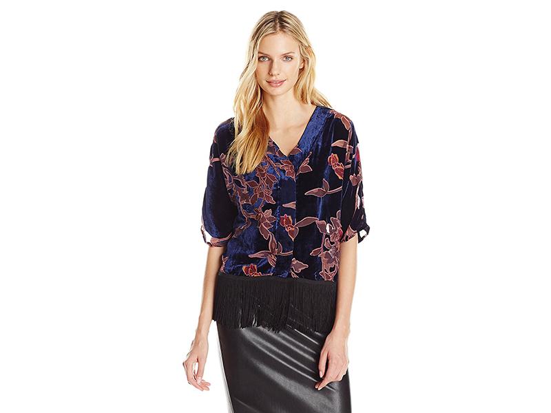 Buffalo David Bitton Dafina Velvet Burnout Wide Sleeve Kimono Blouse