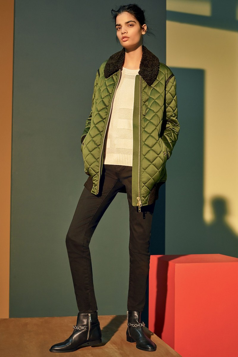 Burberry Hydalelt Quilted Jacket with Genuine Shearling Collar