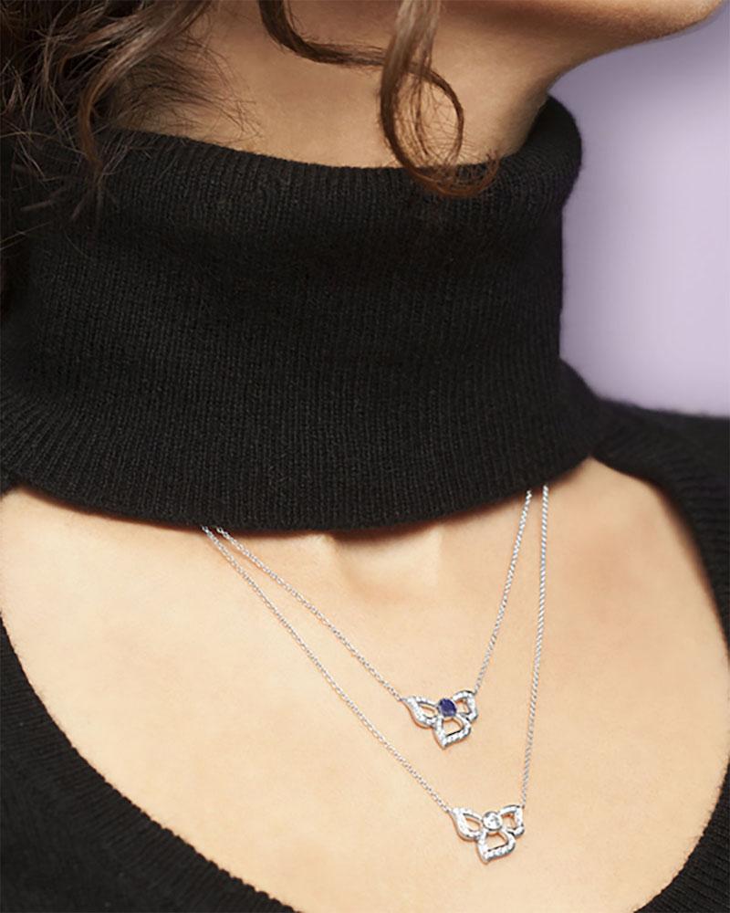 Carelle 18K White Gold Fiorette Diamond Bezel Pendant Necklace