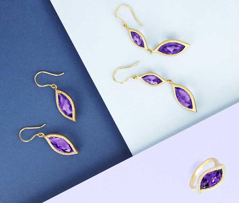 Carelle 18K Yellow Gold & Amethyst Leaf Double-Drop Earrings