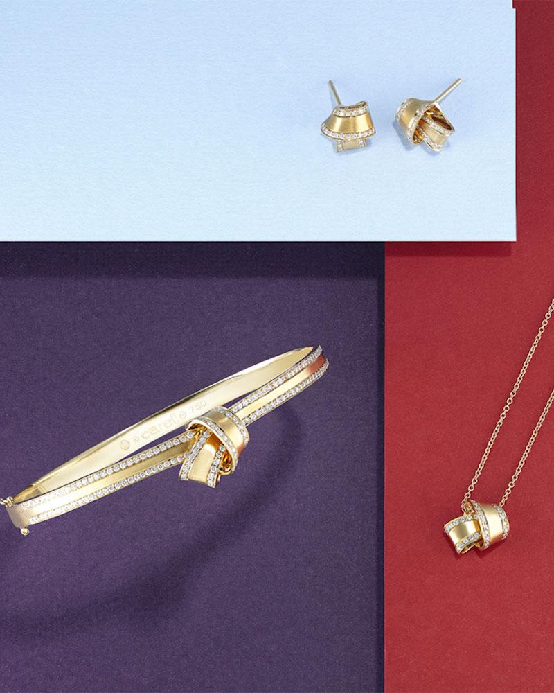 Carelle 18K Yellow Gold Knot Bangle with Diamonds