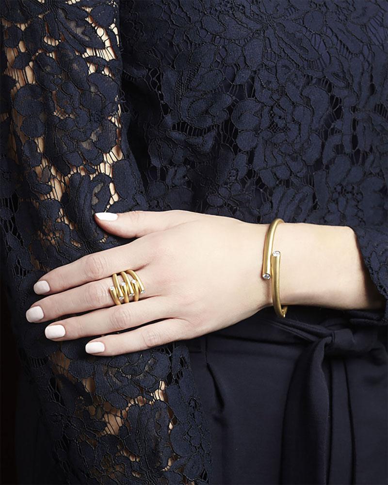 Carelle 18k Multi-Row Ring with Diamonds
