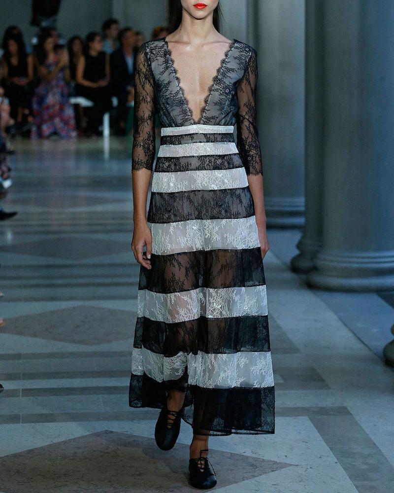 Carolina Herrera Striped Lace 3/4-Sleeve Gown