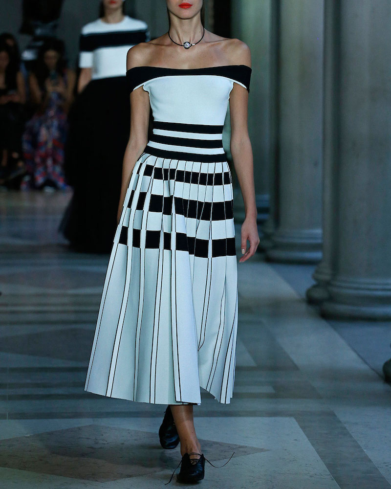 Carolina Herrera Striped Off-the-Shoulder Midi Dress
