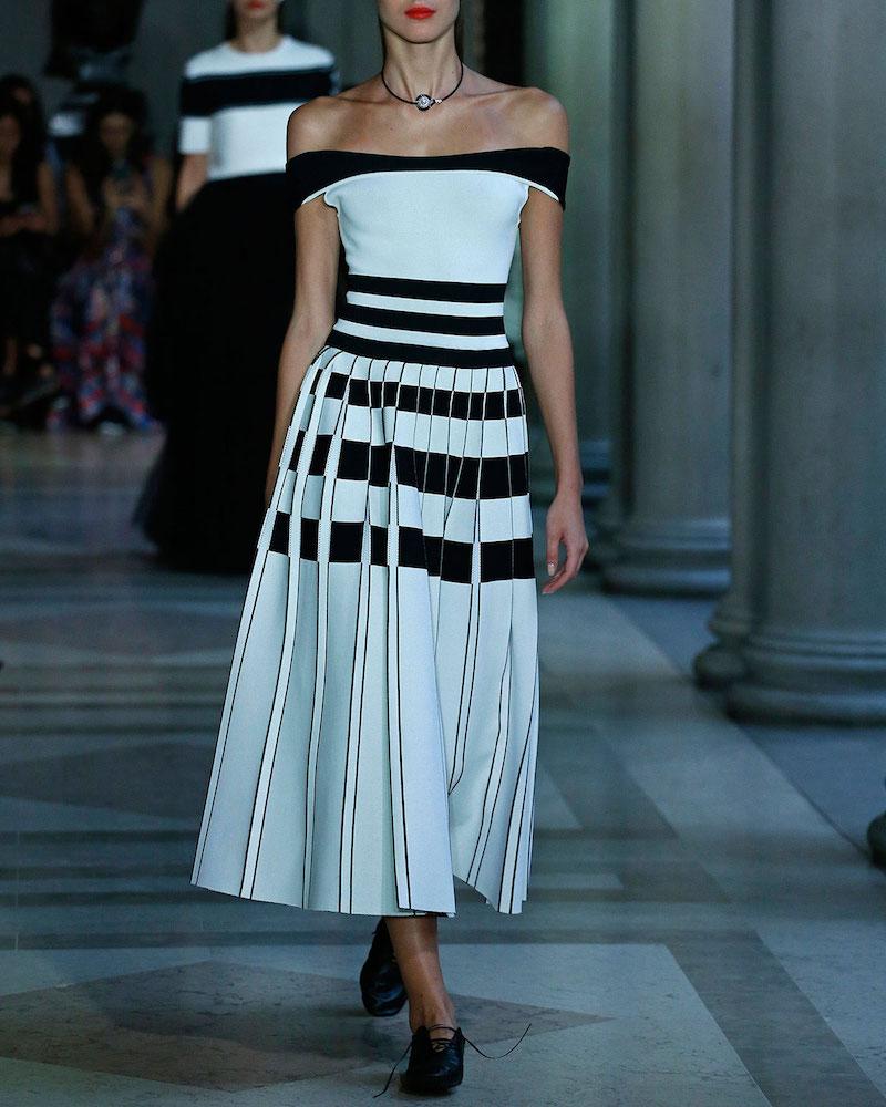 Carolina Herrera Striped Off-the-Shoulder Midi Dress