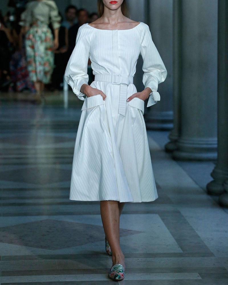 Carolina Herrera Tonal-Stripe Belted Boat-Neck Dress