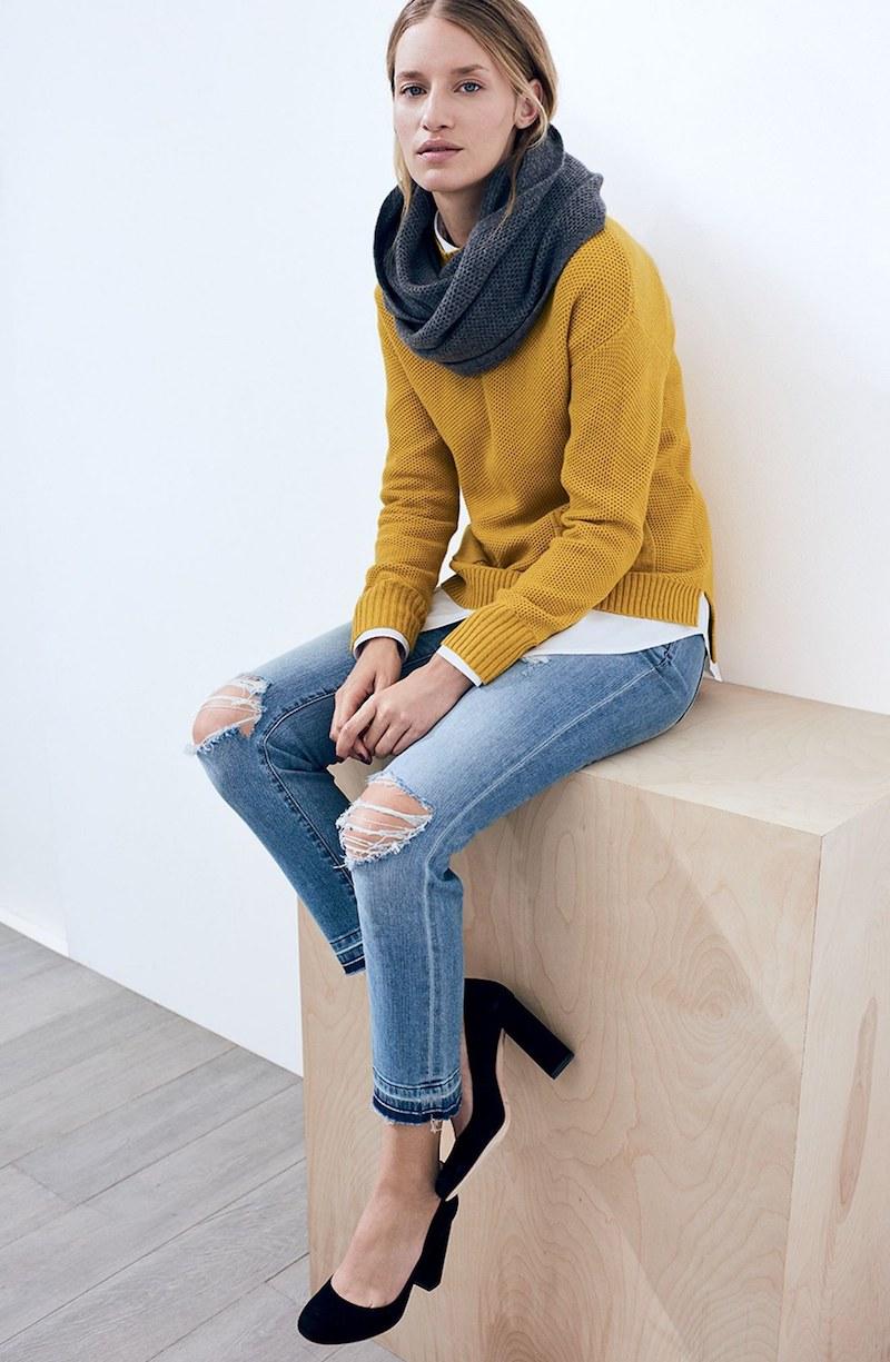 Caslon Distressed & Frayed Stretch Crop Straight Leg Jeans