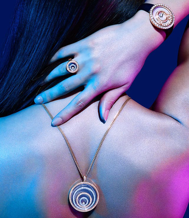 Chopard Happy Spirit Diamond 18ct White-Gold, Rose-Gold and Diamond Pendant