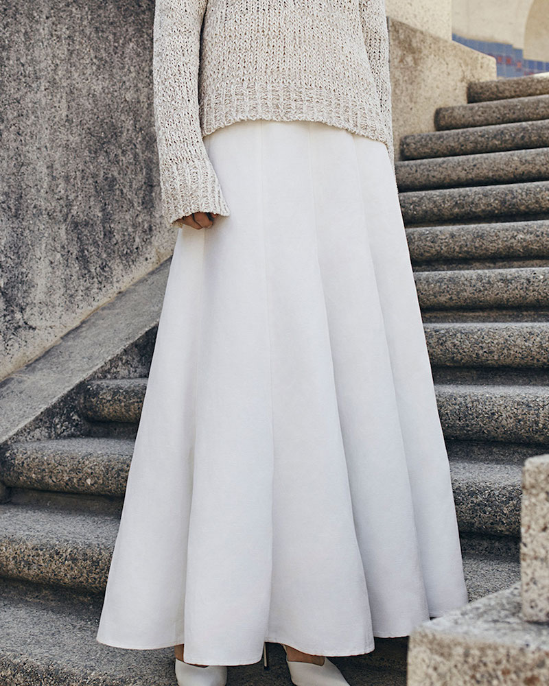 Co. Belted Pleated Maxi Skirt