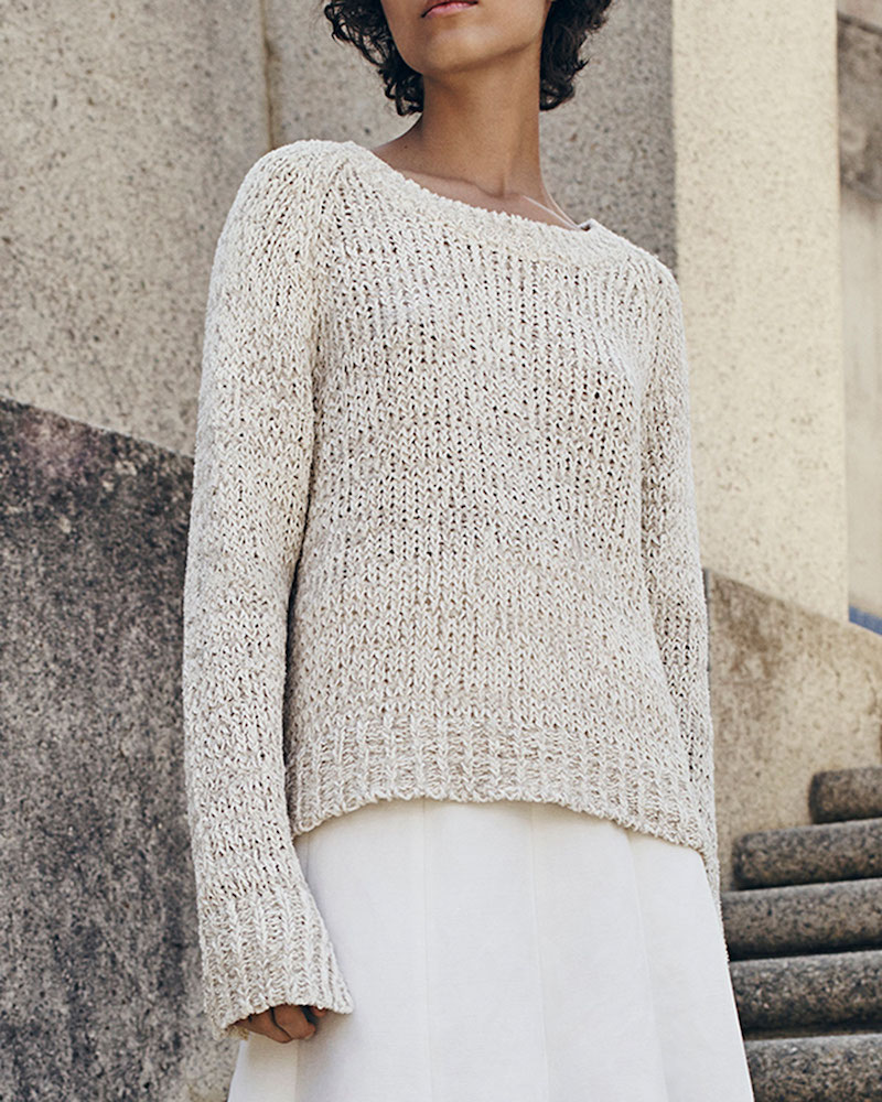 Co. Raglan Crochet Tunic Sweater