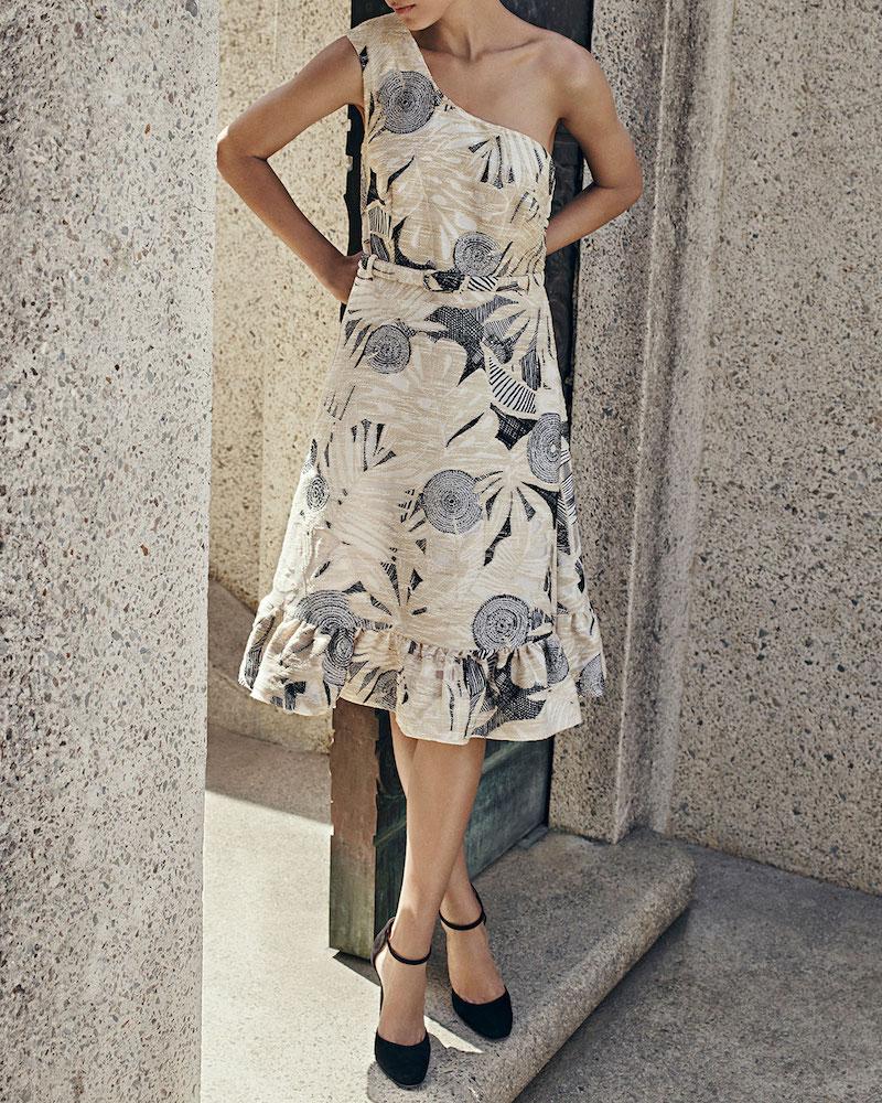 Co. Tropical-Jacquard One-Shoulder Dress
