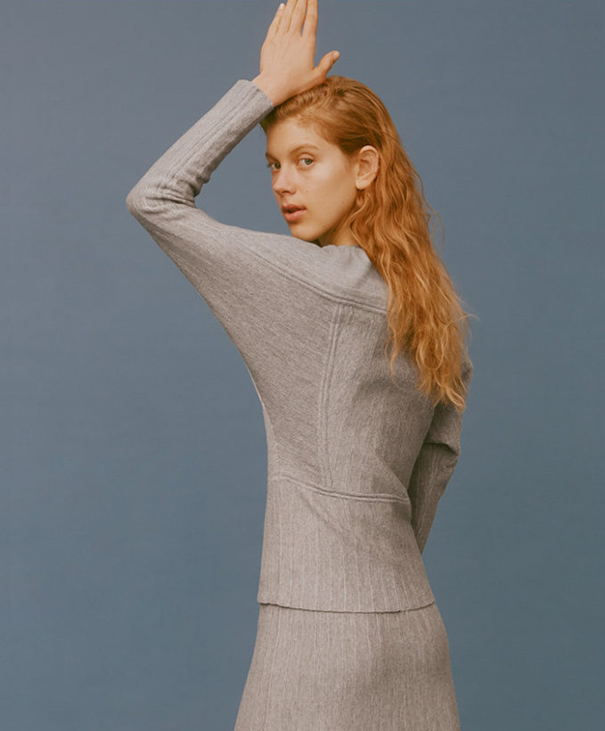 Colovos Ribbed Crepe A-Line Midi Skirt