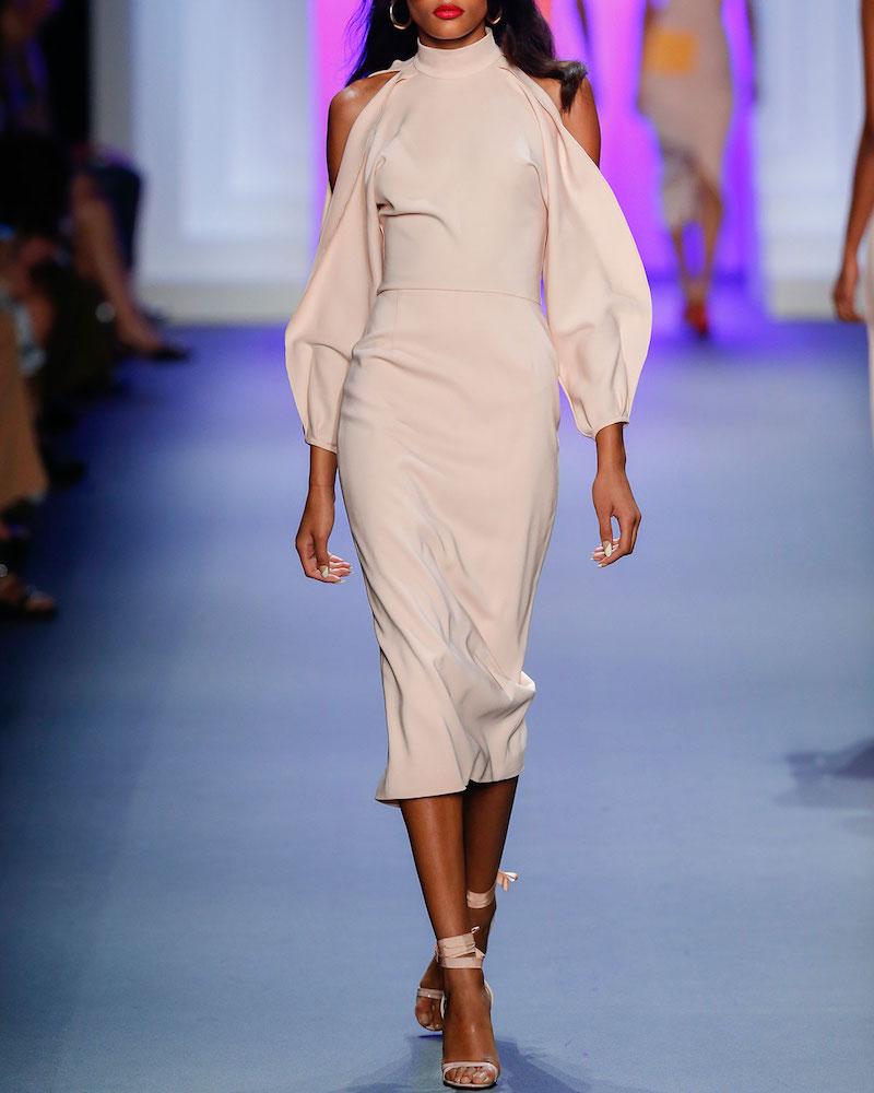 Cushnie Et Ochs Bell-Sleeve Mock-Neck Sheath Dress