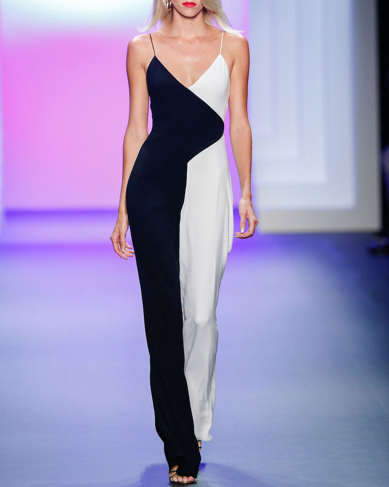 Cushnie Et Ochs Colorblock Sleeveless V-Neck Jumpsuit