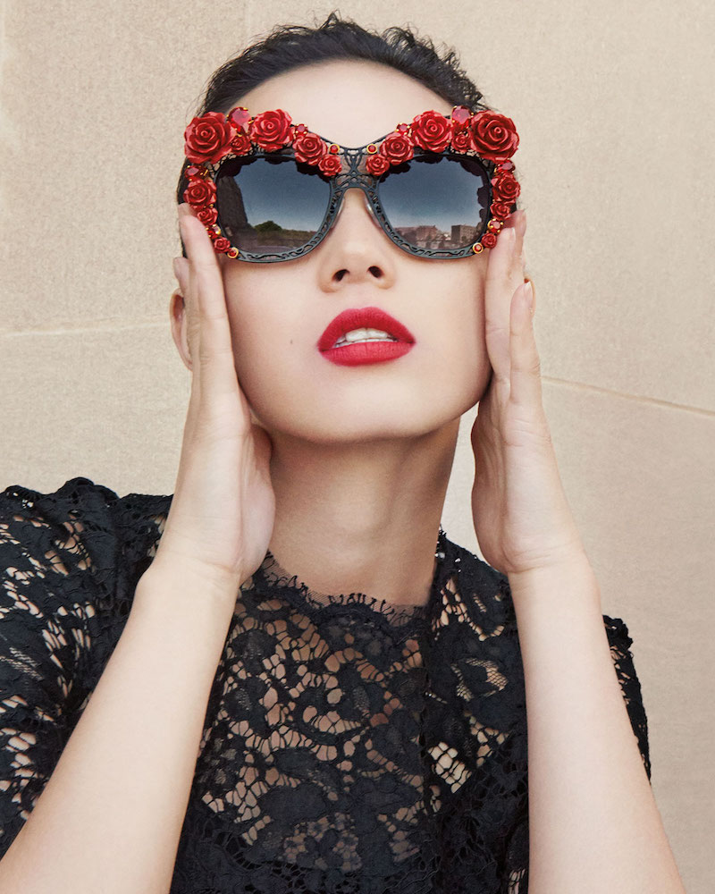 Dolce & Gabbana Dolce Lace Rose & Rhinestone Cat-Eye Sunglasses