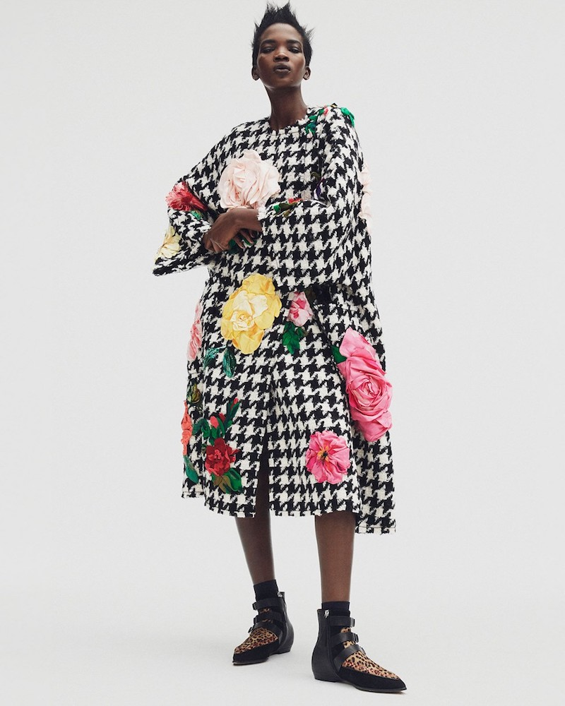 Dolce & Gabbana Flower-Appliqué Tweed Coat