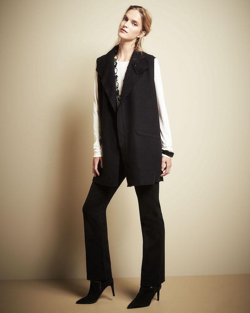 Eileen Fisher Boiled Wool Funnel-Neck Long Vest