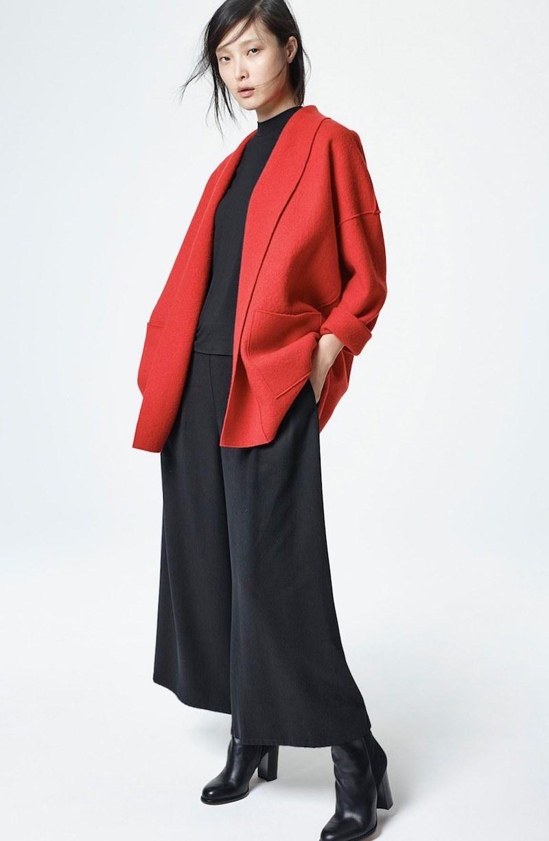 Eileen Fisher Boiled Wool Shawl Collar Jacket