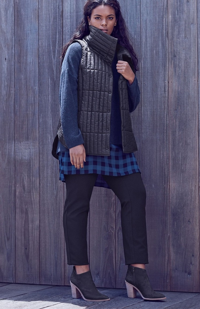 Eileen Fisher Channel Quilted Vest