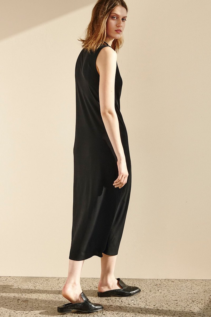 Eileen Fisher Funnel Neck Silk Midi Dress