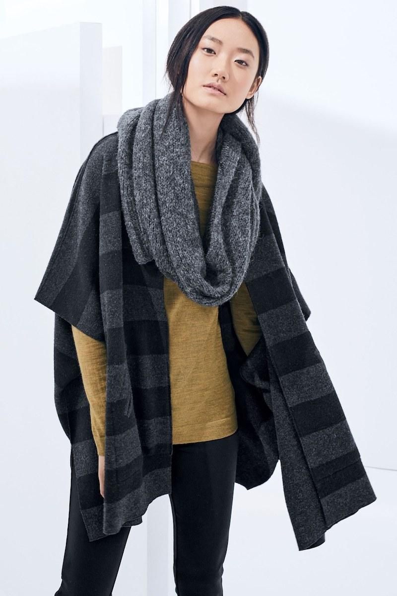 Eileen Fisher Reversible Stripe Round Neck Felted Merino Wool Poncho