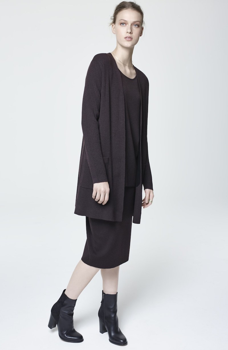 Eileen Fisher Rib Knit Wool Open Front Long Cardigan