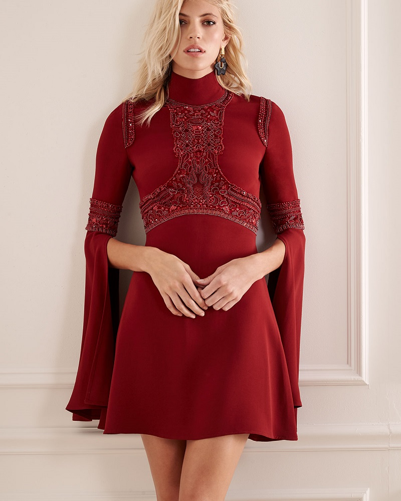 Elie Saab Beaded Bell-Sleeve Turtleneck Dress