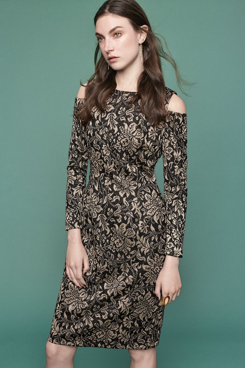 Eliza J Metallic Knit Sheath Dress