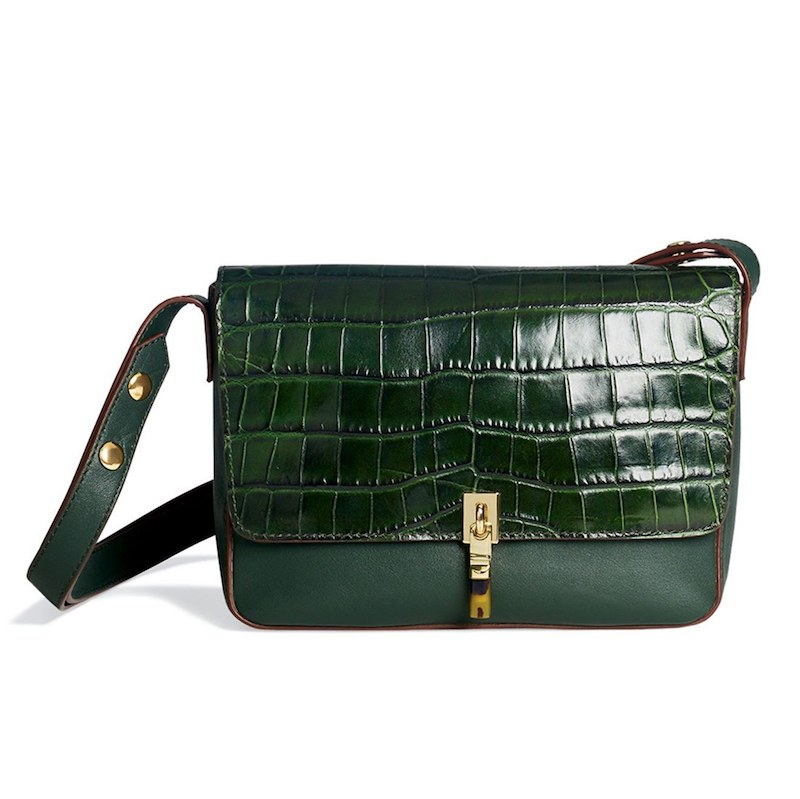 Elizabeth and James Cynnie Croc Embossed Leather Shoulder Bag