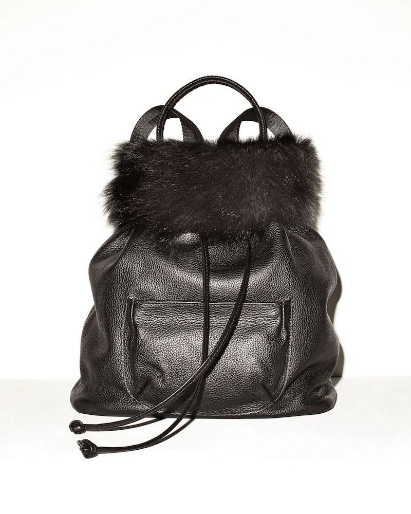 Elizabeth and James Langley Fur-Flap Leather Backpack