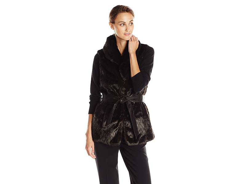 Ellen Tracy Outerwear Faux Fur Vest with Waist Tie