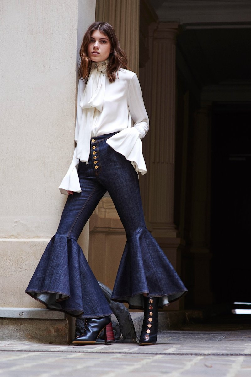 Ellery Hysteria Hysteria High-Rise Ruffled Cuff Jeans