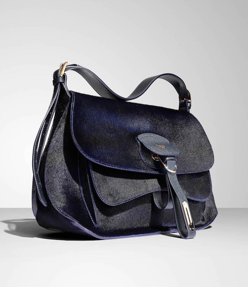 Fontana Milano 1915 Wight Calf Hair Medium Saddle Hobo Bag