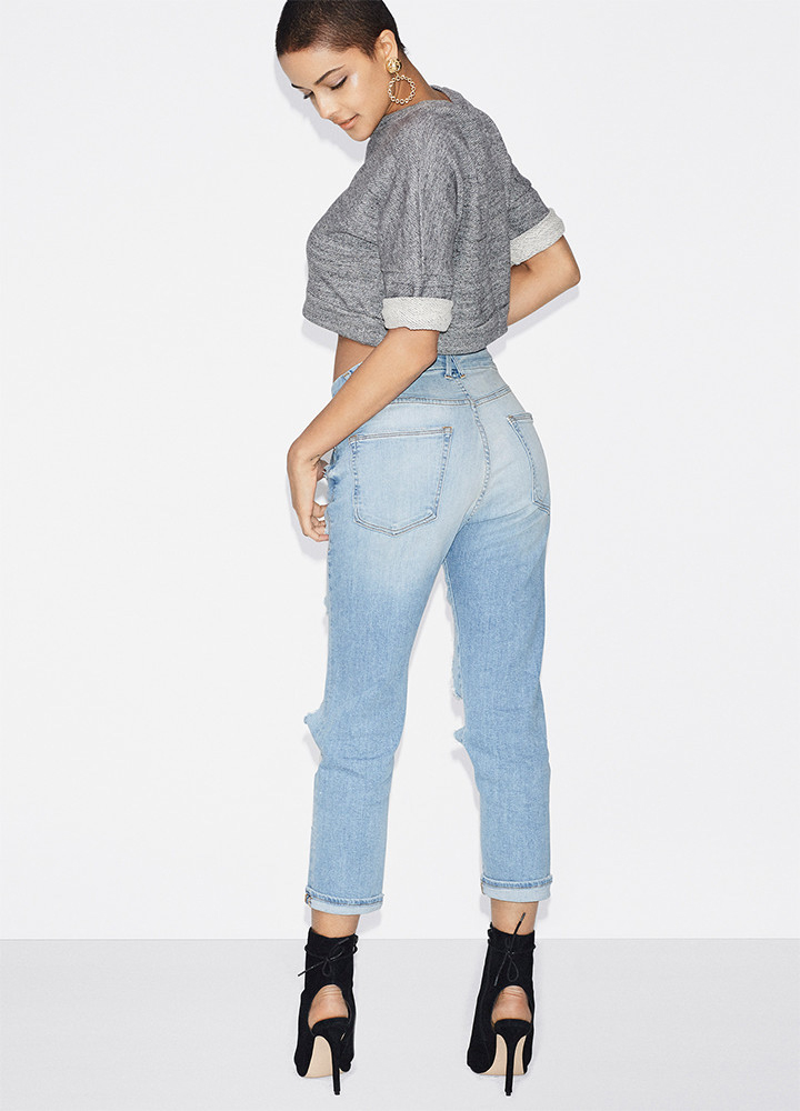 Good American Good Cuts Ripped Boyfriend Jeans