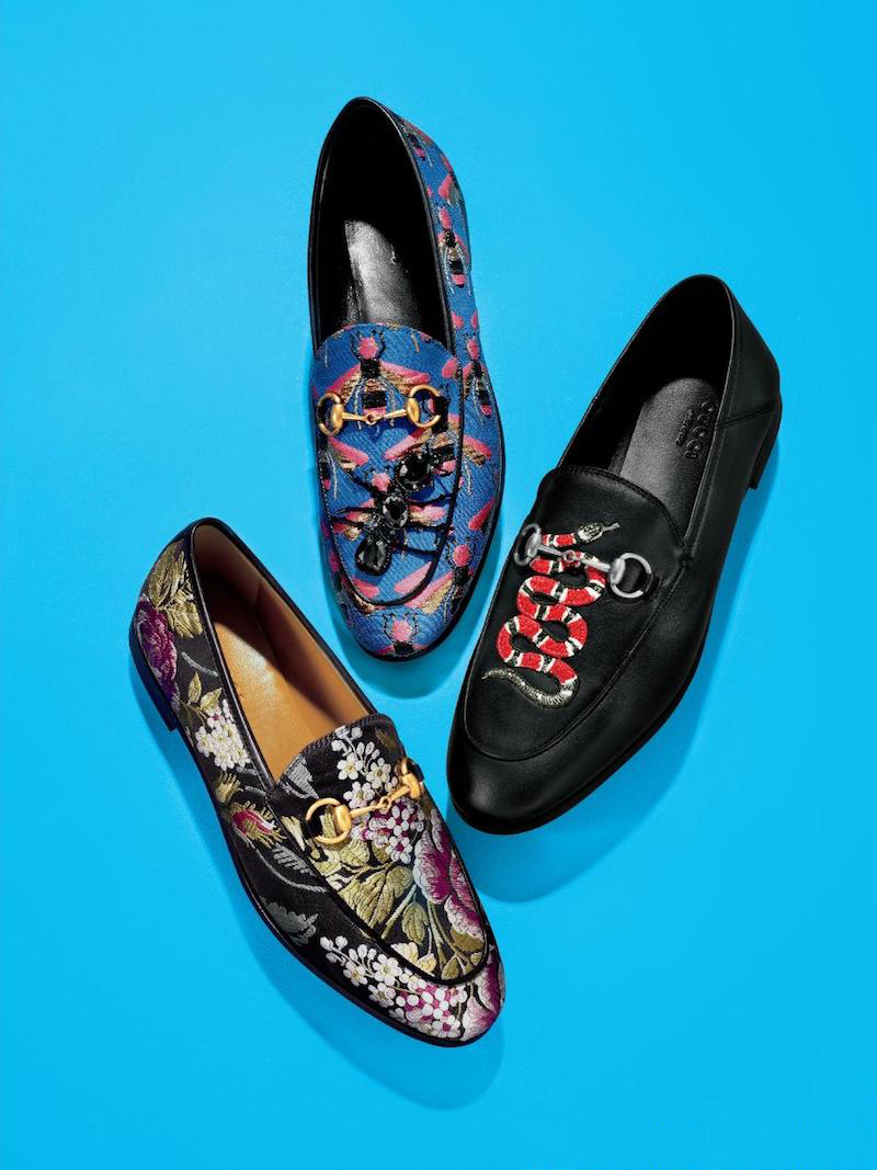 Gucci Jordaan Bee Jacquard Ant Loafers