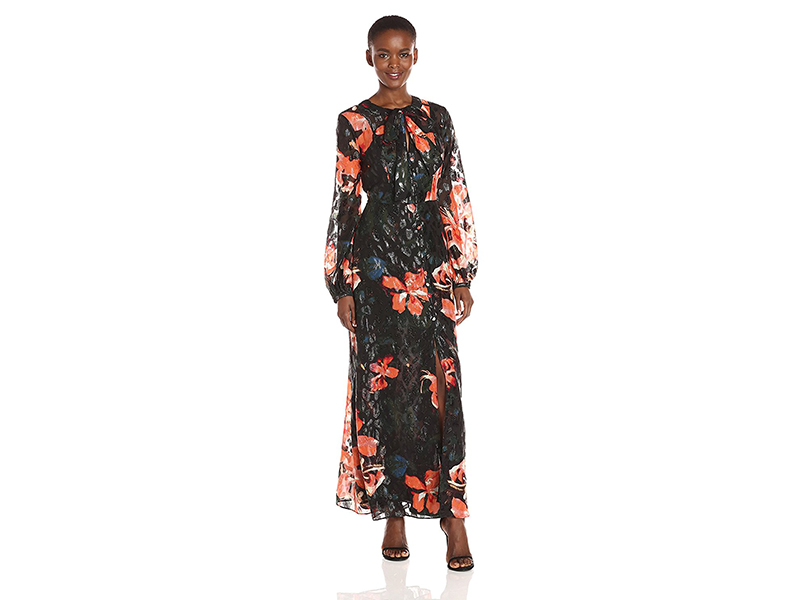 Guess Long Sleeve Lisbeth Floral Print Maxi Shirt Dress