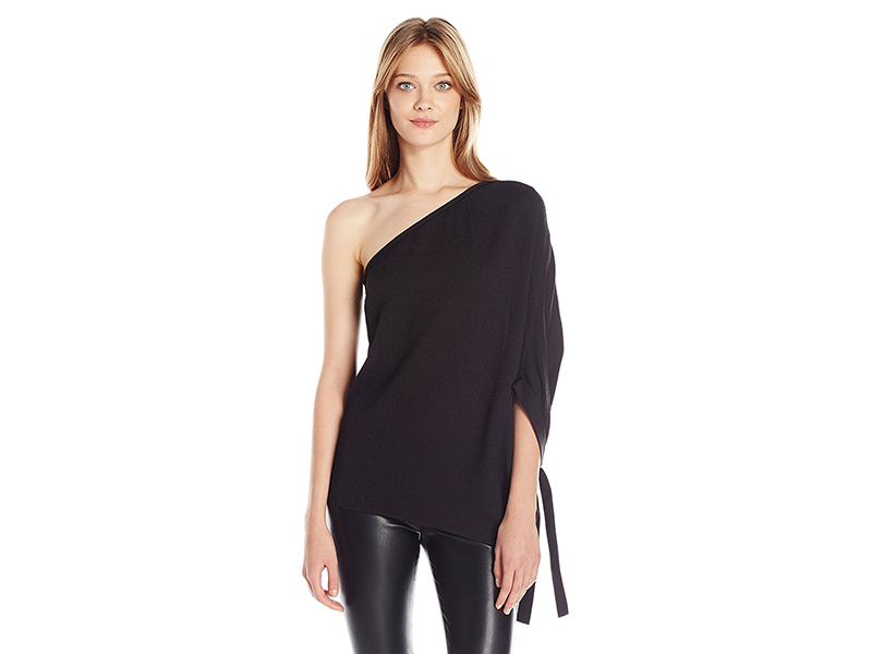 HALSTON HERITAGE One Sleeve Flowy Asymmetrical Top