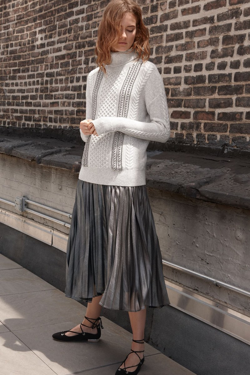 Halogen Embellished Cable Knit Turtleneck Sweater