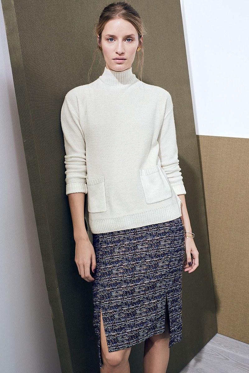 Halogen Side Slit Step Hem Tweed Pencil Skirt