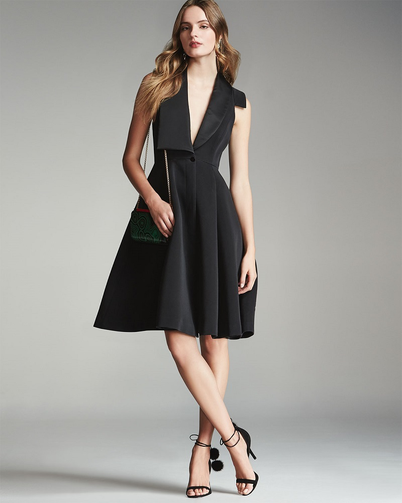 Halston Heritage Structured Tuxedo Cocktail Dress
