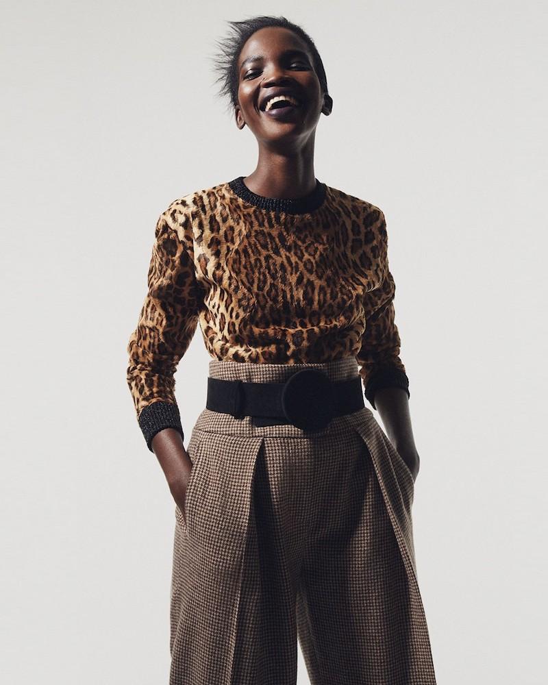 Hillier Bartley Leopard-Print Calf-Hair Effect Sweater