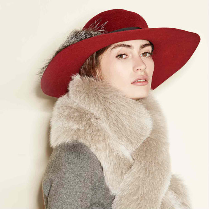 Inverni Felted Floppy Hat with Fox Fur