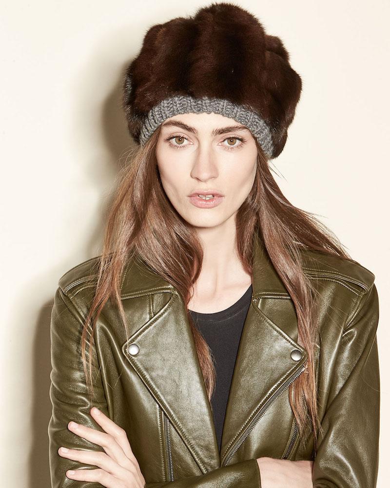 Inverni Fur & Cashmere Beanie Hat