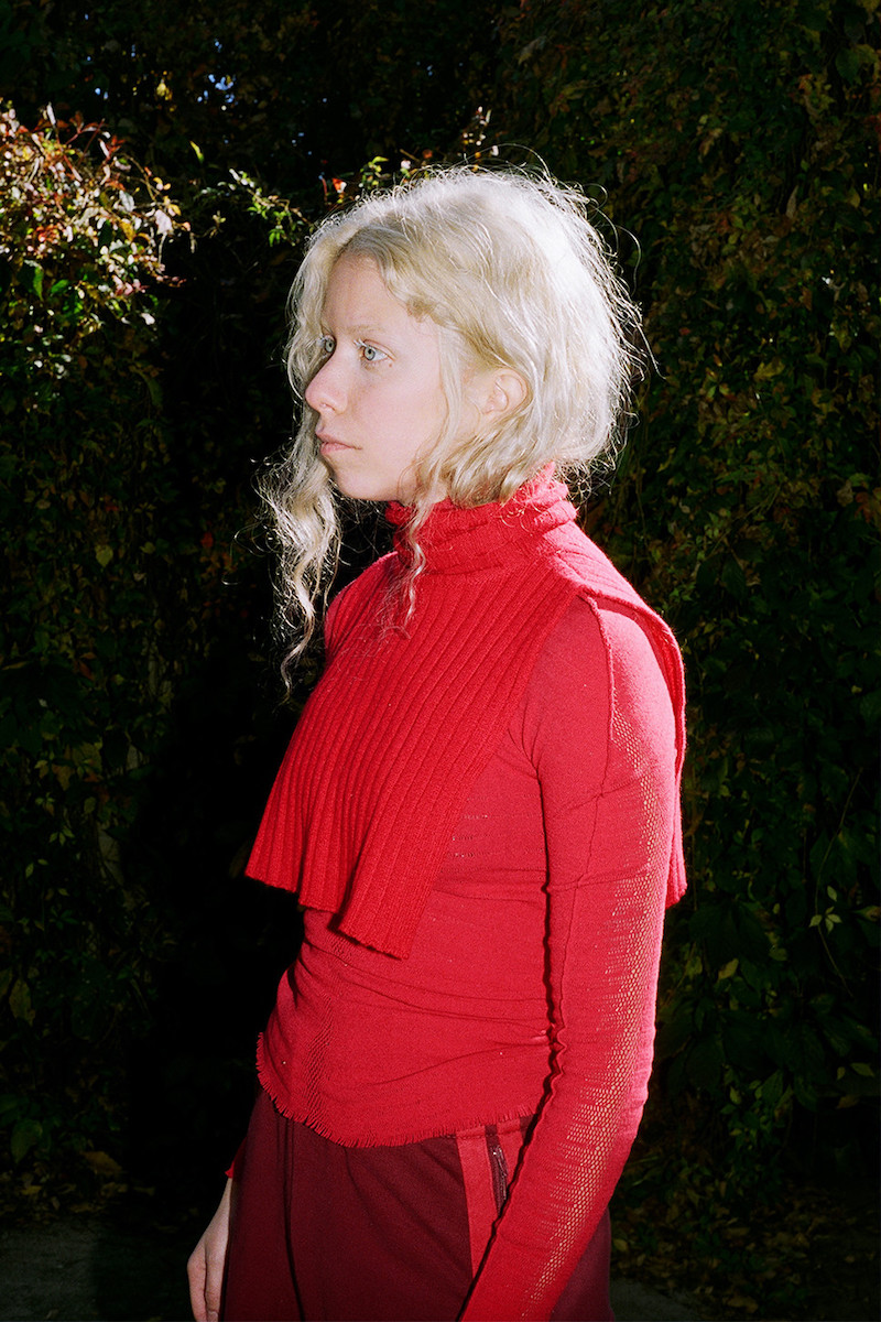 Issey Miyake Red Prism Knit Turtleneck