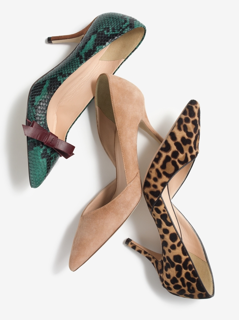 J.Crew Colette Bow Pumps in Snakeskin-Printed Leather