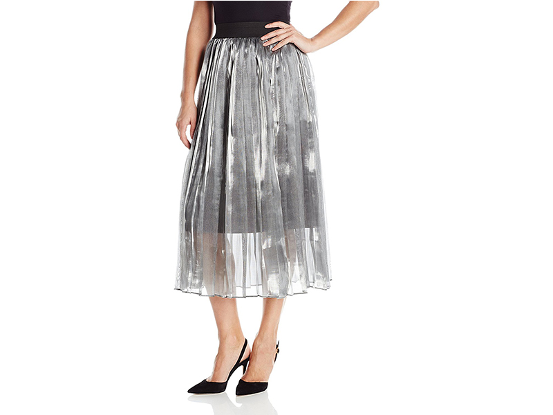 J.O.A. Metallic Pleated Maxi Skirt