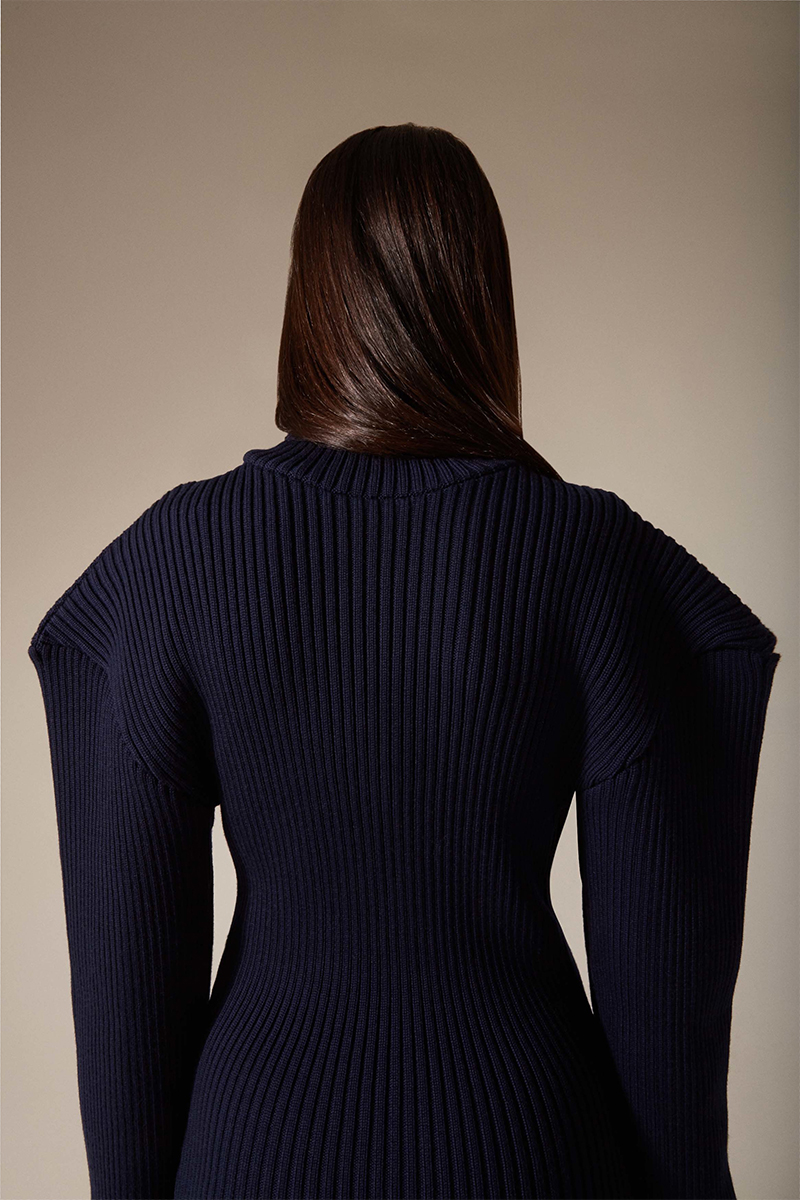 Jacquemus Navy Giant Shoulder Dress