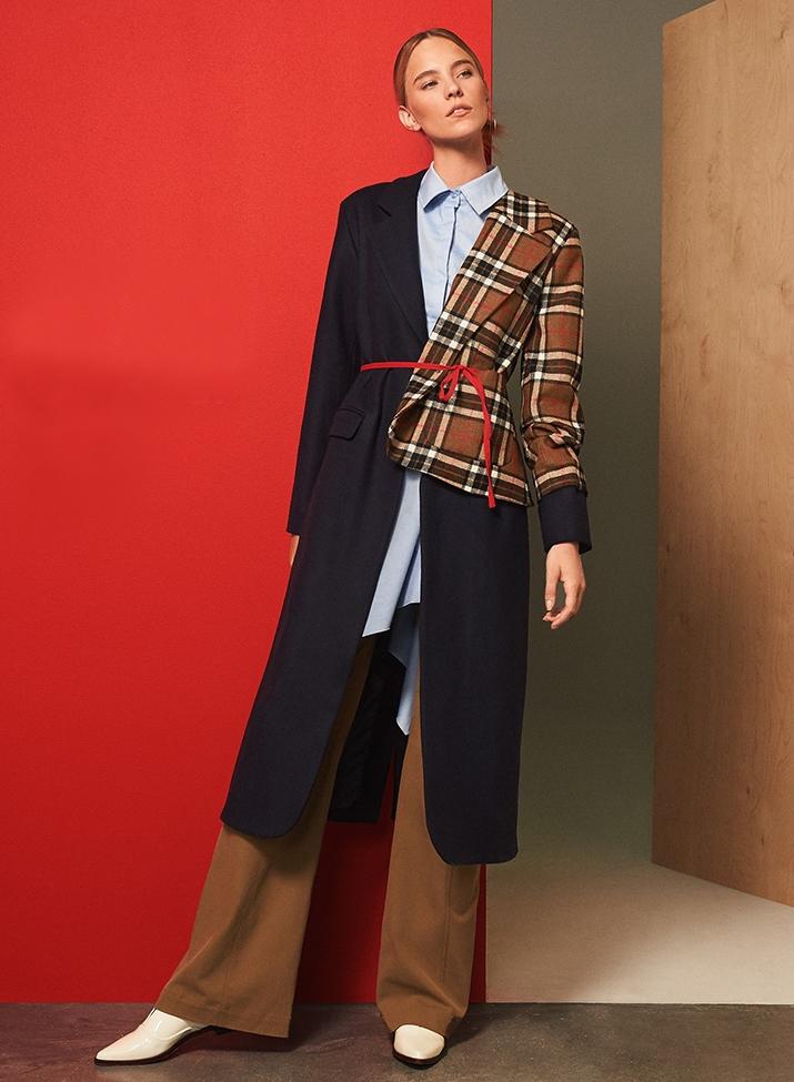 Jacquemus Plaid Mixed Media Coat