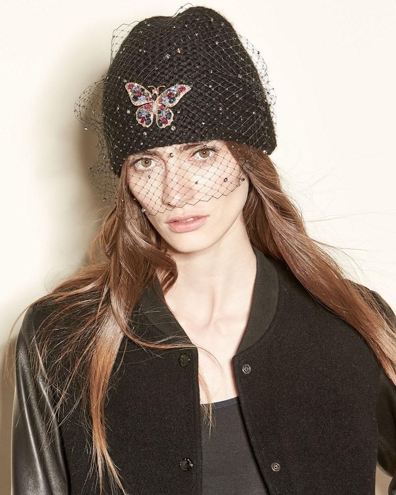 Jennifer Behr Mariposa Voilette Cashmere Beanie Hat
