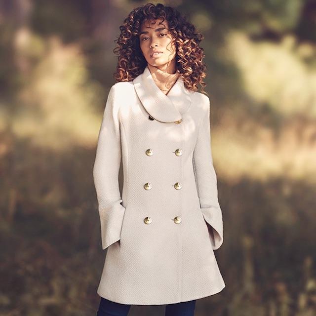 Jessica Simpson Bell Sleeve Basketweave Wool Coat